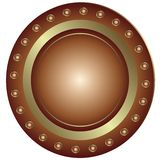 Bronze Plate (). Bronze plate with rivet on white background royalty free illustration