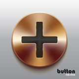 Bronze plus button with black symbol. Round plus button with black symbol and brushed bronze texture isolated on gray background Royalty Free Stock Image