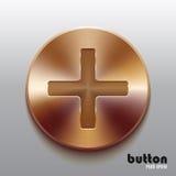 Bronze plus button Royalty Free Stock Image