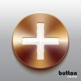 Bronze plus button with white symbol. Round minus button with white symbol and brushed bronze texture isolated on gray background Stock Images