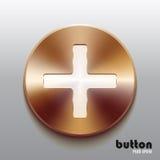 Bronze plus le bouton avec le symbole blanc Images stock