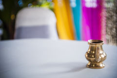 Bronze pot on table Stock Photography