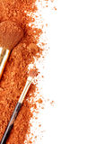 Bronze powder and a few brushes Royalty Free Stock Photo