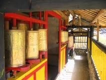 Bronze prayer wheels. In Tibet royalty free stock photo