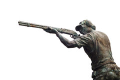 Bronze public sculpture about Athletes shoot gun, blank text Royalty Free Stock Photos