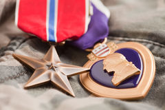 Bronze and Purple Heart Medals on Camos Royalty Free Stock Image