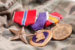 Bronze, Purple Heart and National Defense Medals Stock Photos