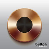 Bronze record button with black symbol. Round bronze record button with black symbol and brushed texture isolated on gray background Stock Photo