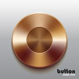 Bronze record button. Round record button with brushed bronze texture isolated on gray background Stock Image