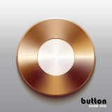 Bronze record button with white symbol. Round stop button with white symbol and brushed bronze texture isolated on gray background Royalty Free Stock Photography