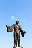 Bronze ringmaster statue. The statue of a ringmaster in a Viennese amusement park Stock Photo