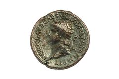 Bronze Roman Sestertius coin of Roman emperor Nero. AD 54-68 cut out and isolated on a white background Stock Photo