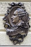 Bronze sculptural relief of Casanova in Lviv Ukraine Royalty Free Stock Photography
