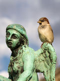 Bronze sculpture angel sparrow. Old historical bronze sculpture of angel man in the Versailles palace park closeup with cloudy sky as a background and sparrow Stock Photos