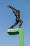 Bronze sculpture of athlete Stock Images