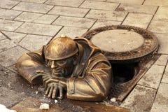 Bronze sculpture called man at work, Bratislava, Slovakia Royalty Free Stock Images