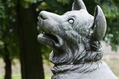 Bronze sculpture. Of a dog stock images