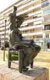 Bronze sculpture of Don Quixote sitting Royalty Free Stock Photography