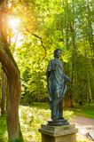 Bronze sculpture of Flora -the goddess of spring and flowers. Old Silvia park in Pavlovsk, St Petersburg region, Russia royalty free stock photo