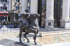 Bronze sculpture of a furious man on a horse in downtown Skopje, Stock Image