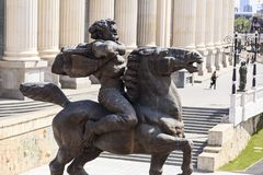 Bronze sculpture of a furious man on a horse in downtown Skopje, Royalty Free Stock Image