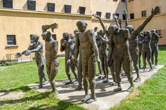 Bronze sculpture group for communism victims at Sighet. Between 1948 and 1952, 180 intellectuals and priests were put in jail at Sighet like communism opponents stock images