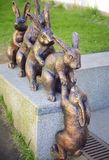 Bronze sculpture with hares in St. Petersburg. Russia Royalty Free Stock Photography