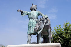 Bronze sculpture of a king with his horse. Royalty Free Stock Photos