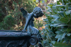 Bronze sculpture of little angels in the park Royalty Free Stock Images