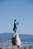 Bronze sculpture of Maiden with Seagull, Croatia Royalty Free Stock Photo