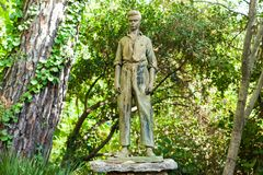 Bronze sculpture of a Majorcan man in LLuc botanical garden Stock Photography
