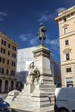 Bronze sculpture of Marco Minghetti in Rome. Rome, Italy - April 5, 2019: Cityscape and generic architecture from Rome, the Italian capital. Bronze sculpture of royalty free stock photography