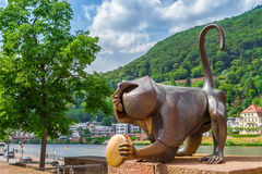 Bronze sculpture of a monkey on the old bridge. Heidelberg. Germ Stock Image