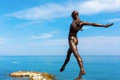 Bronze sculpture of Nicolas Lavarenne in Antibes, France Stock Photos