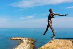 Bronze sculpture of Nicolas Lavarenne in Antibes, France Royalty Free Stock Photos