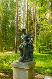 Bronze sculpture of Terpsichore - the muse of dance. Old Silvia park in Pavlovsk, St Petersburg, Russia royalty free stock image