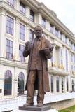 Bronze sculpture of Vasil Iljoski in downtown Skopje, Macedonia. Skopje, Macedonia - April 9, 2017: Bronze sculpture of Vasil Iljoski in downtown Skopje Royalty Free Stock Photos