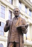 Bronze sculpture of Vasil Iljoski in downtown Skopje, Macedonia. Skopje, Macedonia - April 9, 2017: Bronze sculpture of Vasil Iljoski in downtown Skopje Stock Photo