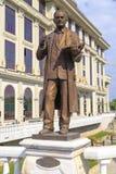 Bronze sculpture of Vasil Iljoski in downtown Skopje, Macedonia. Skopje, Macedonia - April 9, 2017: Bronze sculpture of Vasil Iljoski in downtown Skopje Royalty Free Stock Image