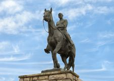 Bronze sculpture of Will Rogers on horseback, Claremore, Oklahoma. Pictured is a bronze sculpture of Will Rogers on horseback by Electra Wagoner Biggs in the Royalty Free Stock Image