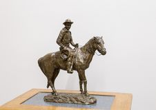 Bronze sculpture of Will Rogers on horseback, Claremore, Oklahoma. Pictured is a bronze sculpture of Will Rogers on horseback by Emil Seletz MD in the Will Royalty Free Stock Images