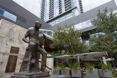 Bronze sculpture of Willie Nelson. December 31, 2015 Austin, Texas, USA:  bronze sculpture of Willie Nelson outside of Austin City Limits Live Royalty Free Stock Photography