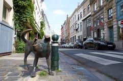 The bronze sculpture Zinneke Pis. Brussels, Belgium - July 31,2015: The bronze sculpture Zinneke Pis (peeing bastard) by Tom Frantzen. The statue has been Stock Images