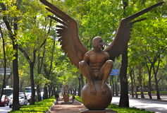 Bronze Sculptures of Contemporary Artist Jorge Marin in Mexico City. MEXICO CITY - JULY 3, 2013: Bronze Sculptures of Contemporary Artist Jorge Marin in Mexico Royalty Free Stock Photos