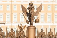 Bronze sculpture of the three-headed eagle on Palace Square in Saint Petersburg, Russia stock images