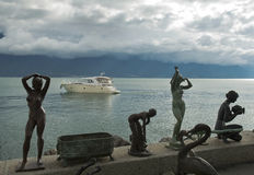 Bronze sculptures on the waterfront of Lake Geneva Stock Image