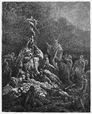 The Bronze Serpent. Picture from The Holy Scriptures, Old and New Testaments books collection published in 1885, Stuttgart-Germany. Drawings by Gustave Dore stock illustration