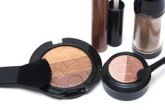 Bronze set for make-up. Eyeshadows, rouge, blusher and gloss Royalty Free Stock Image
