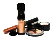 Bronze set for make-up. Eyeshadows, rouge, blusher and gloss Royalty Free Stock Photography