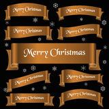 Bronze shiny color merry christmas slogan curved ribbon banners eps10 Stock Photography